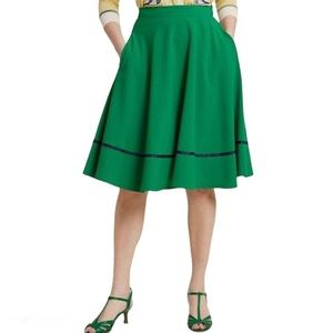 MODCLOTH Just This Sway Trimmed A-Line Skirt, M